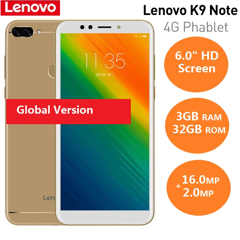 Lenovo K9 Note 4G Smartphone 6.0'' 18:9 Android 8.1 Qualcomm Snapdragon 450 Octa Core 1.8GHz 3GB RAM 32GB ROM 16.0MP AI Mobile