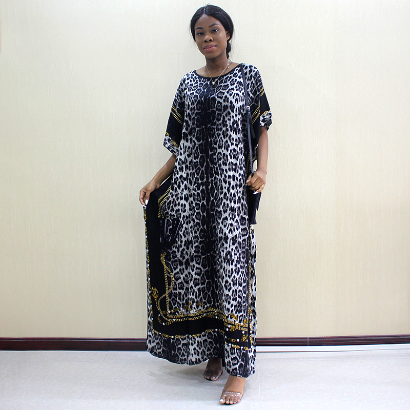 2019 Fashion Dashiki African Dresses For Women Leopard Print Cotton Dashiki Casual Dresses