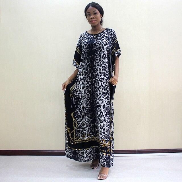 2019 mode Dashiki Afrikanische Kleider Für Frauen Leopard Print Baumwolle Dashiki Casual Kleider