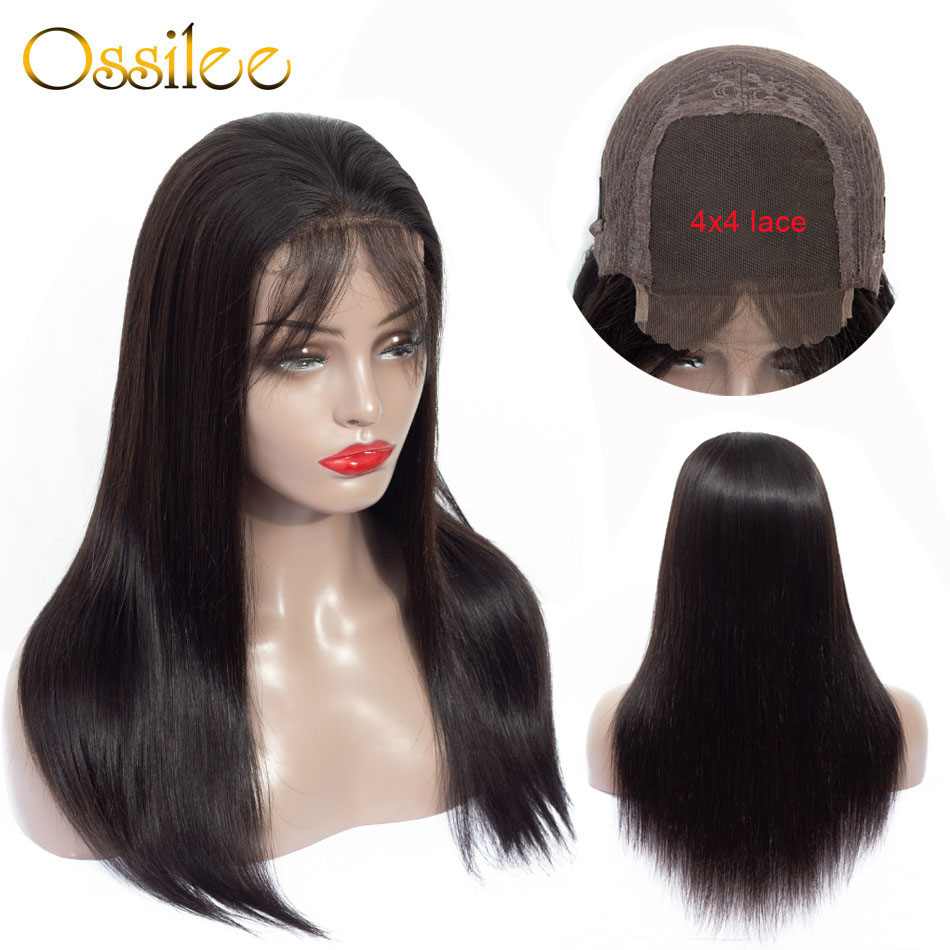 Ossilee 4x4 Lace Closure Human Hair Wigs Straight Lace Frontal Wigs Pre Plucked Remy Hair