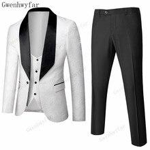 Wedding-Suits Pants Vest Jacket Groom Gwenhwyfar Tuxedo3pcs Black White Mens Jacquard