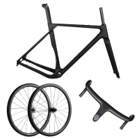 Spcycle Aero Full Carbon Gravel Bicycle Frame 700*40C Disc Brake Cyclocross Bike Frameset+Wheelset+Handlebar Set 2020 New