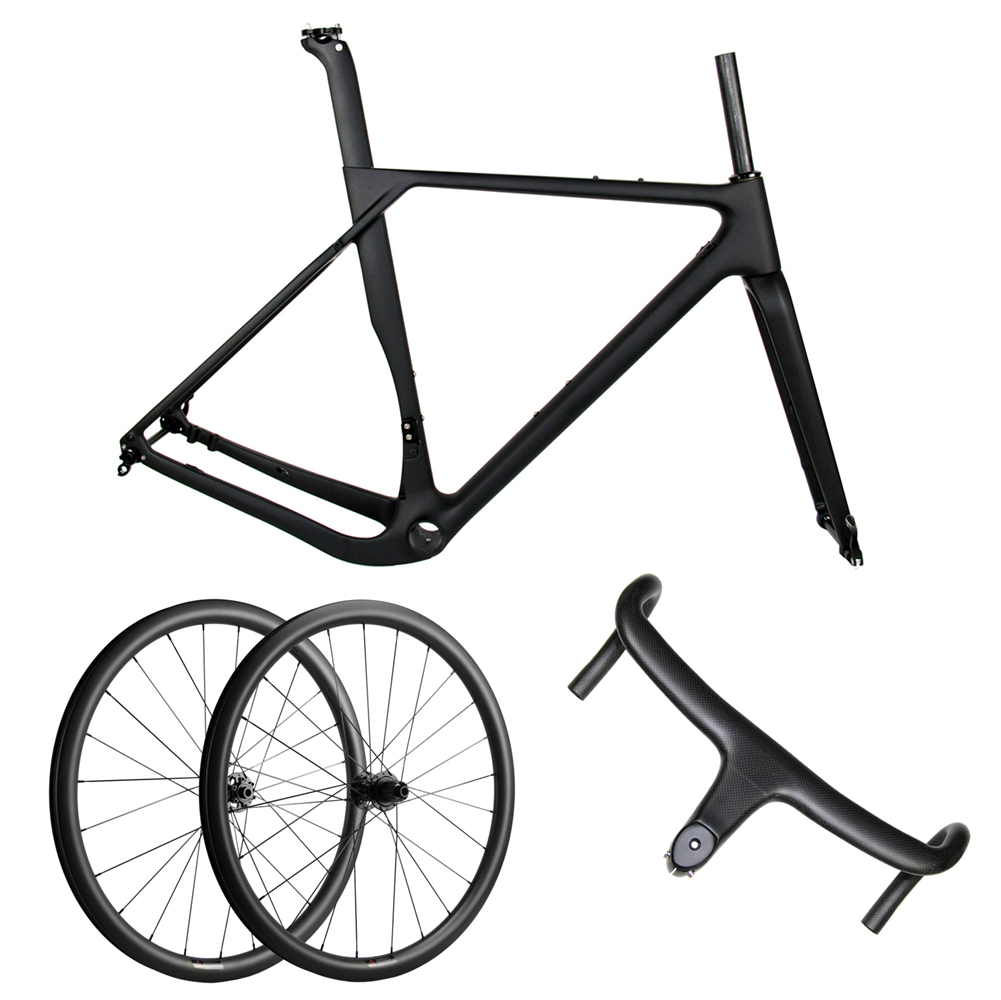 Spcycle Aero Full Carbon Gravel <font><b>Bicycle</b></font> <font><b>Frame</b></font> 700*40C Disc Brake Cyclocross Bike Frameset+Wheelset+Handlebar <font><b>Set</b></font> 2020 New image