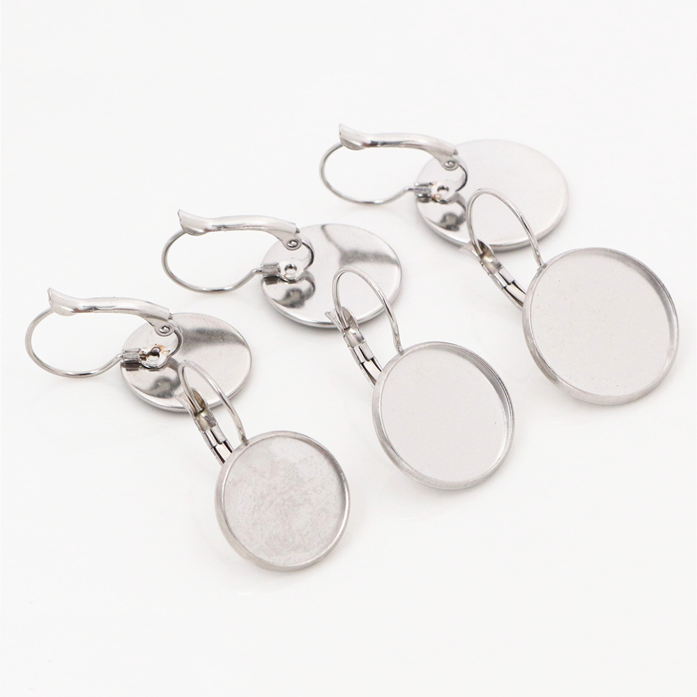 ( No Fade ) 14/16/18mm 10pcs Stainless Steel French Lever Back Earrings Blank/Base,Fit 14/16/18mm Glass Cabochons,Buttons