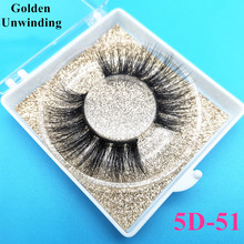 Golden Unwinding 3d mink lashes wholesale false eyelashes fluffy 5D-51 mink eyelashes 5d mink hair lash custom eyelash packaging
