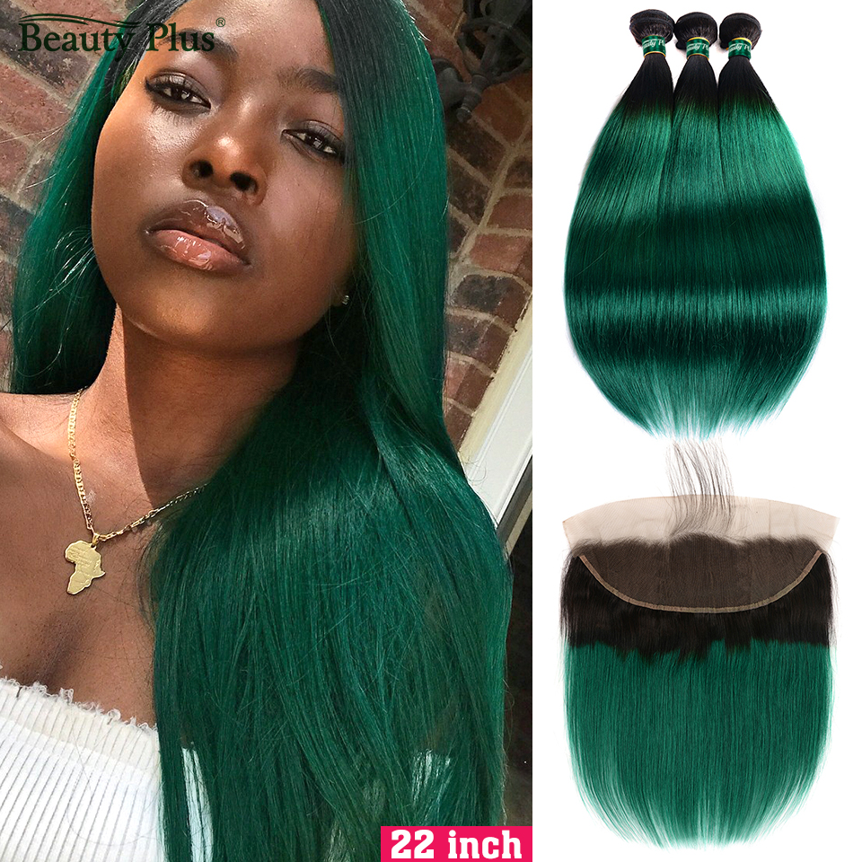 Ombre Bundles With Frontal Beauty Plus Non-Remy Pre Colored 2 Tone Green Human Hair Straight Weaves And Ear To Ear Lace Frontals