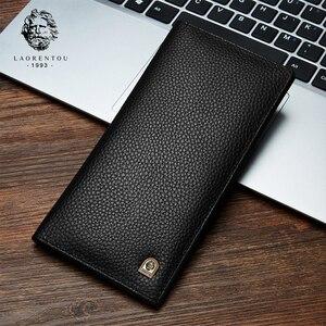 Image 1 - Laorentou erkek debriyaj cüzdan yumuşak inek deri kartlık iş erkek iki kat cüzdanlar uzun çanta iç fermuarlı cebi ile