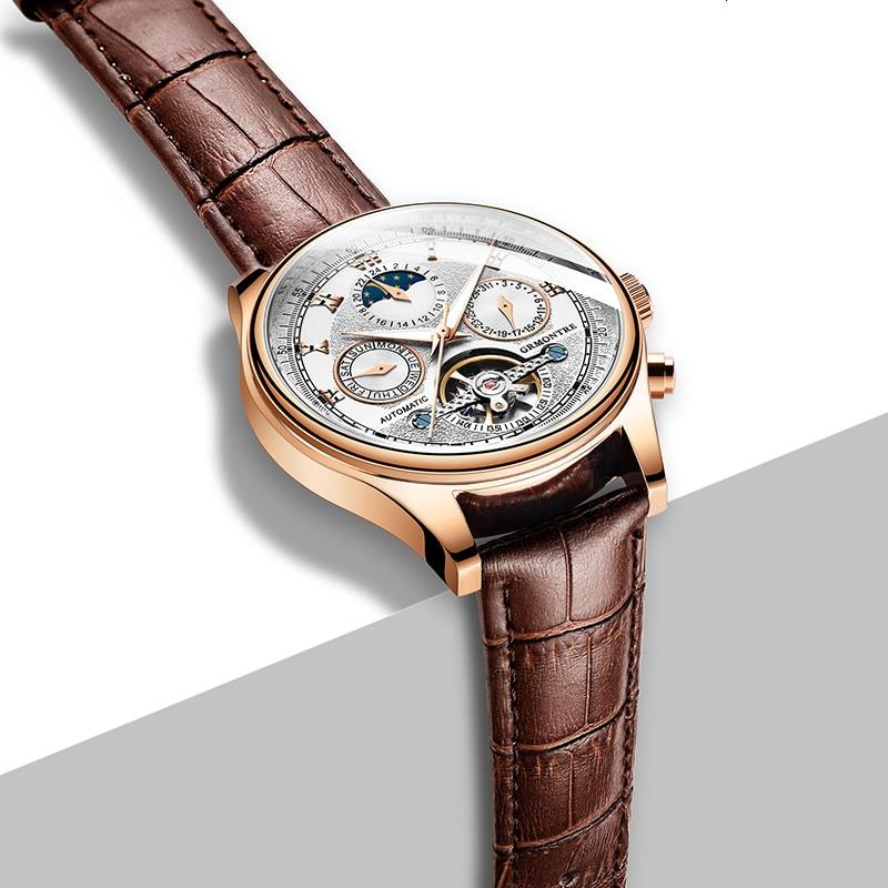 H498ca47dee9c45c7b3e77c91b49abcf47 Skeleton Tourbillon Mechanical Watch Men Automatic Classic Rose Gold Leather Mechanical Wrist Watches Reloj Hombre 2018 Luxury