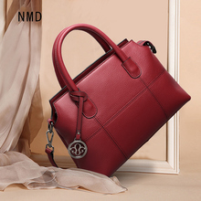 NMD High quality leather womens handbag Palace car line and hardware pendant decoration luxury brand design female shoulder bag