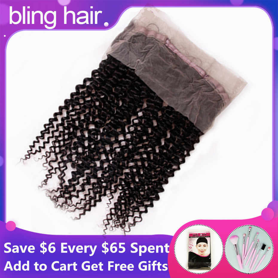 "Bling Hair Kinky Curly 360 Lace Frontal Closure With Baby Hair Natural Color Peruvian 100% Remy 13*4 Human Hair Closure 8""-22"""