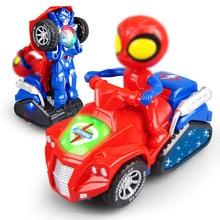 Hasbro Childrens electric universal deformation ATV Spider-Man Captain America model light music toy gift