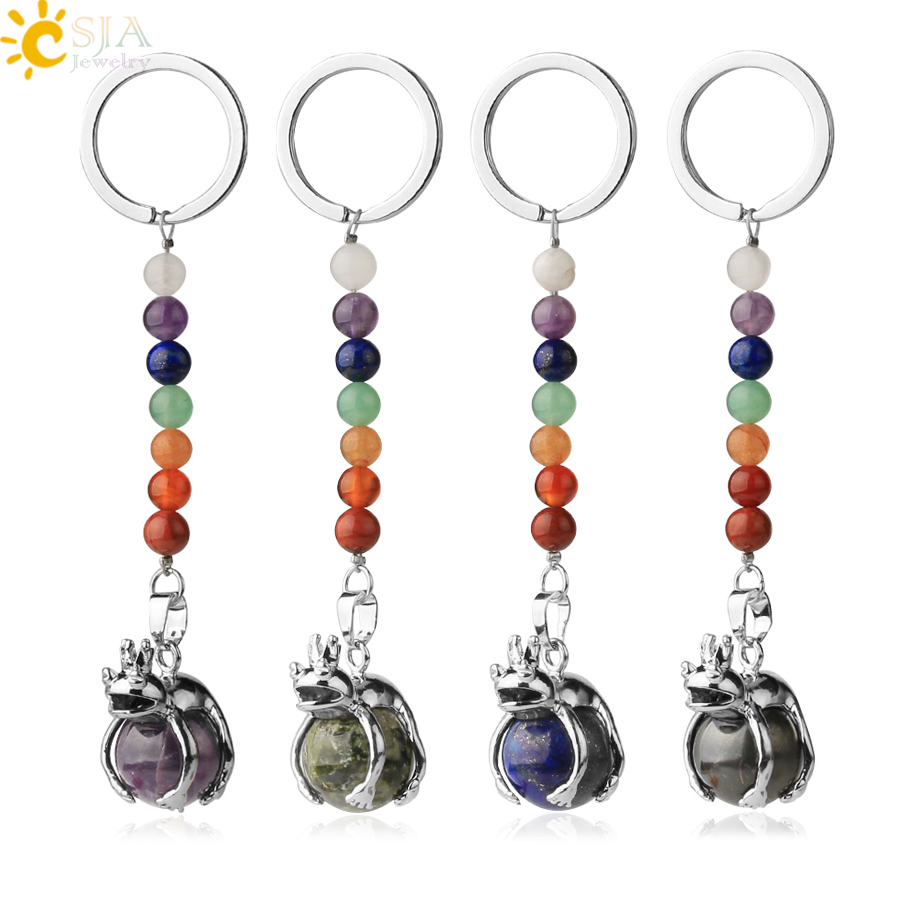 CSJA Natural Stones 7 Chakra Keychains Animal Frog Shape Round Bead Pendant Motorcycle Keyring Women Men Car Bag Key Chains G350