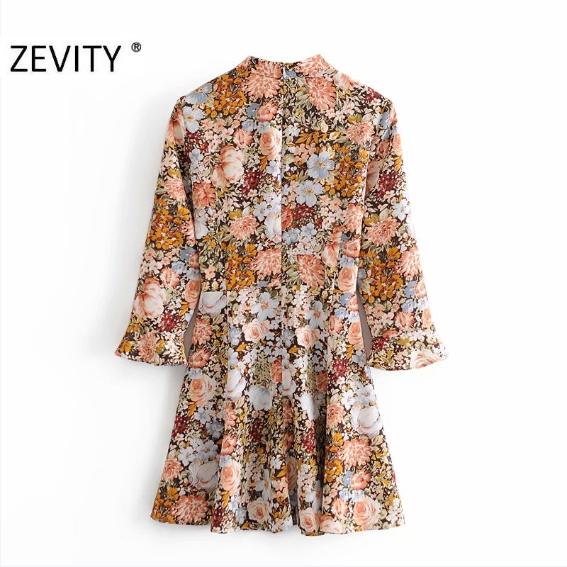 Zevity Autumn Women Vintage Stand Collar Flower Print A Line Mini Dress Office Ladies Ruffles Sleeve
