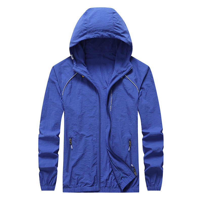 Summer Thin Section Men Hooded Solid Color Coat Large Size Outdoor Driving Wind Shield Jacket