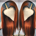 Heat Resistant Hair Ombre Orange Red Synthetic Lace Front Wig For Black Women Middle Part Hand Tied Long Silky Straight Lace Wig