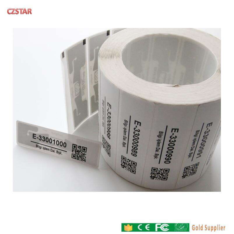 Customized Printed ID Barcode Iso18000-6c Impinj Smartrac Dogbone Tag Impinj Monza R6 Monza 4D Epc Gen2 Uhf Rfid Tag Sticker