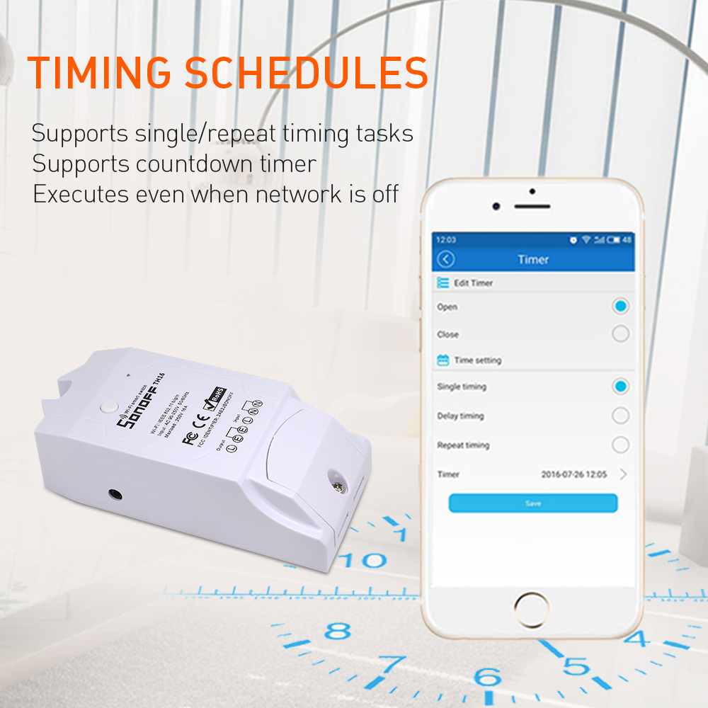 Sonoff TH16 Relay Module Smart Home Wifi Switch Humidity Sensor Temperature Monitor Works With Alexa Google Home 4