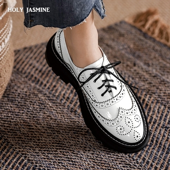 Oxfords Shoes for Women Real Cow Leather Lace Up Round Toe Black White Vintage Brogue Shoes Female 2021 Spring Platform Shoes shidiweike new women platform oxfords brogue flats shoes suede leather lace up square toe luxury brand red black creepers b490