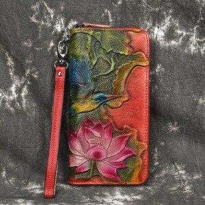 Image 4 - Damski portfel kopertówka damski zamek błyskawiczny saszetka na telefon portfele damskie torebka kwiat grawerowane prawdziwej skóry