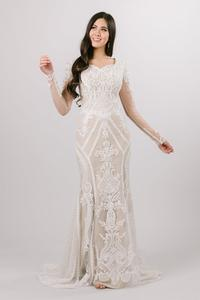 Image 1 - Boho Lace Mermaid Modest Wedding Dresses With Long Sleeves Ivory Lace Champagne Lining LDS Bridal Gowns Custom Made