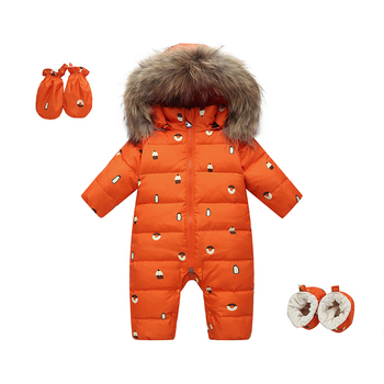 Winter baby warm down jackets Little baby thick snow suit Girls windproof one-piece down jackets Natural raccoon fur collar 0-3T
