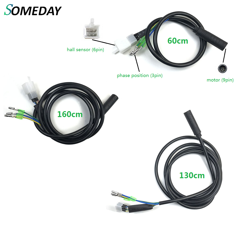 SOMEDAY Motor Convert Extension Cable 9 Pin 250W/350W/500W Conversion Line Waterproof Connector E-bike Motor Extend Cable