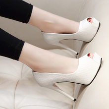 Chaussures à talons Super hauts de 12 Cm pour femmes, simples et Sexy, avec bouche de poisson, de bureau, de mariage, blanches, élégantes, 32,33