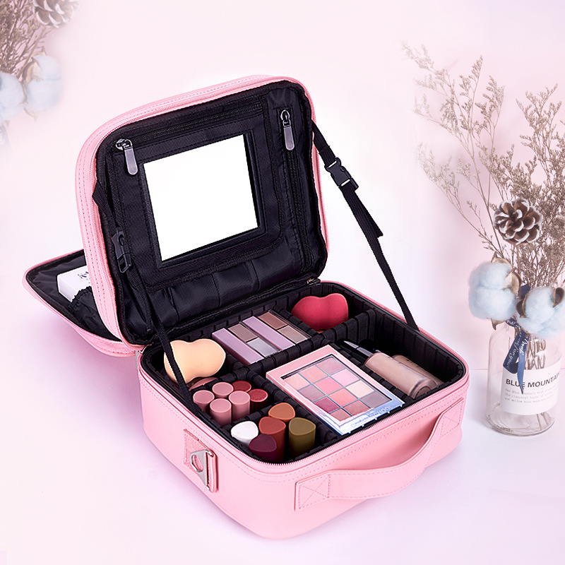 New Professional Makeup Bag With Mirror Organizer Women Travel Cosmetic Cases Large Capacity Cosmetics Bag Capacity Storage Box