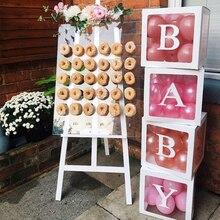 Bebek duş kız erkek şeffaf adı yaş kutusu Donut duvar standı düğün dekorasyon kız erkek bir ilk doğum günü partisi hediye kutusu