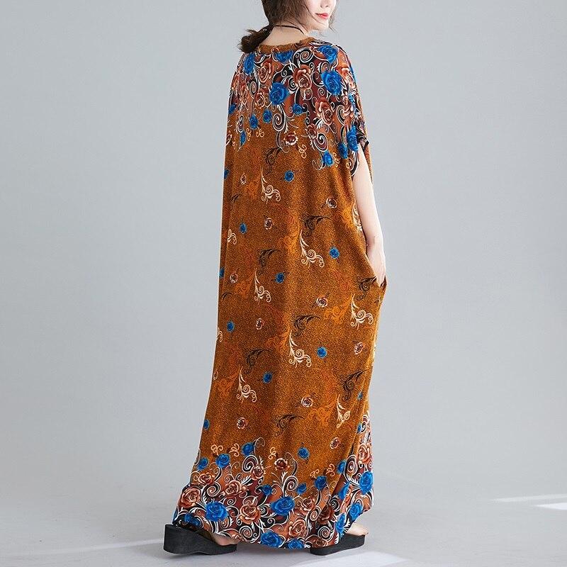 Γυναικείο φόρεμα καλοκαιρινό με λουλουδάκια μακρύ ριχτό βαμβακερό σε μεγάλα μεγέθη msow