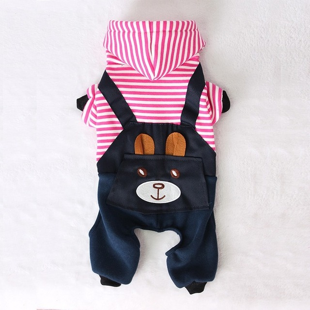 PUOUPUOU Fashion Striped Pet Dog Clothes for Dogs Coat Hoodie Sweatshirt Winter Ropa Perro Dog Clothing Cartoon Pets Clothing 2