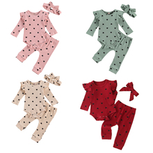 Suit Girl Long-Sleeve New Born Ribbed Heart-Print Baby's 0-24-Months Crew Boy And Hairband