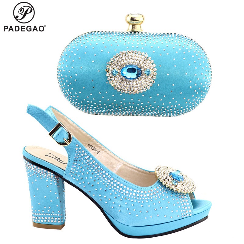 Fashion Women Sky Blue Sandals And Bag Set To Match  High Quality African Shoes With Matching Bags For Wedding Party