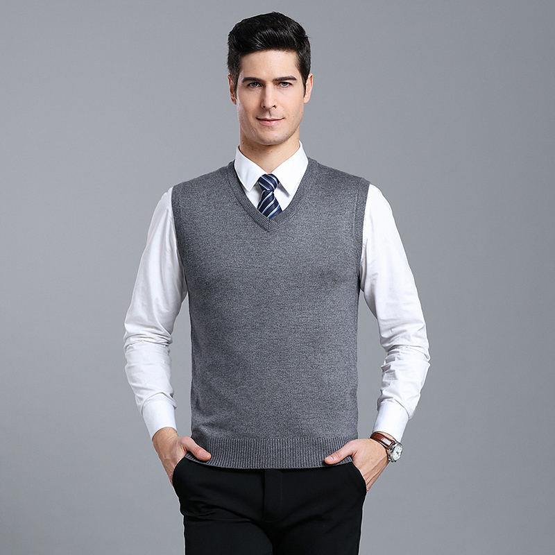 Autumn & Winter Vest Male 2019 New Solid Color Business Men Sleeveless Cashmere Sweater V Collar