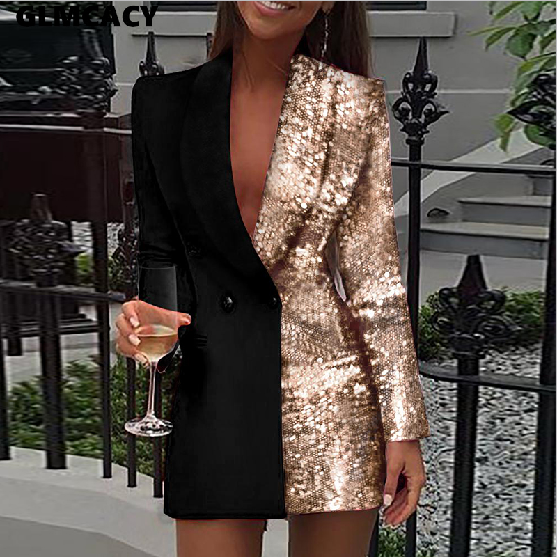 Women Colorblock Sequins Long Sleeve Blazer Dress Double Breasted Notched Lapel Collar Chic Glitter Elegant Dress