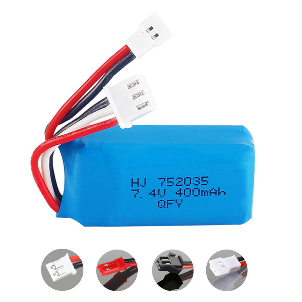 <font><b>7.4V</b></font> <font><b>400mAh</b></font> 2S Lithium <font><b>Battery</b></font> XH2.54/JST/PH2.0/SM Plug For RC DM007 Airplane Quadcopter Drone Helicopter Toy Parts <font><b>7.4V</b></font> <font><b>battery</b></font> image