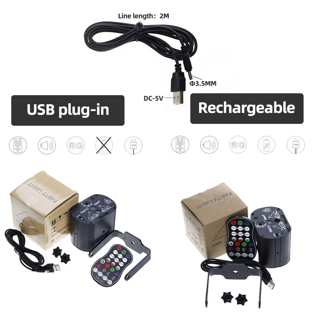 Image 5 - Aimkeeg Mini USB Charge DJ Disco Light Strobe Party Stage Lighting Effect Voice Control Laser Projector Light for Dance Floor-in Stage Lighting Effect from Lights & Lighting on