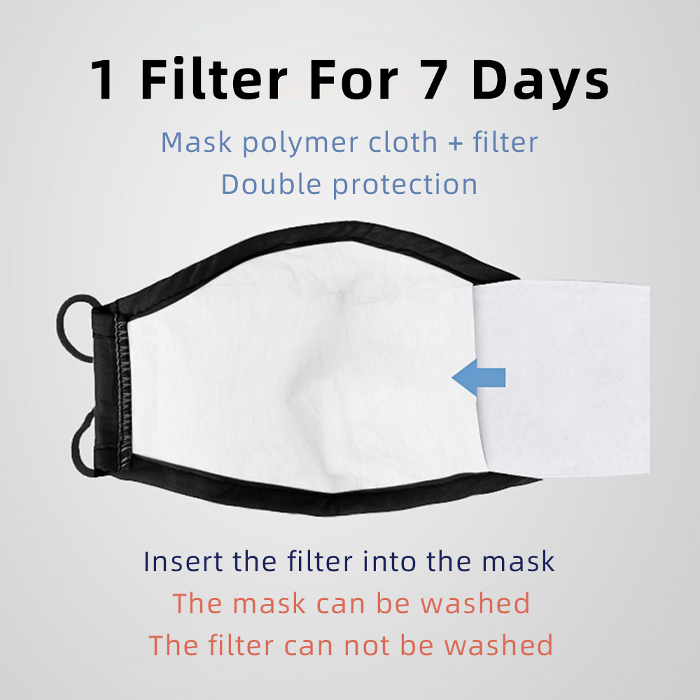 Washable Reusable Face Mask Black Anti Fog Dust Pollution PM2.5 Filter Mouth Cover Protection Breathable Cotton Cloth Face Mask 5