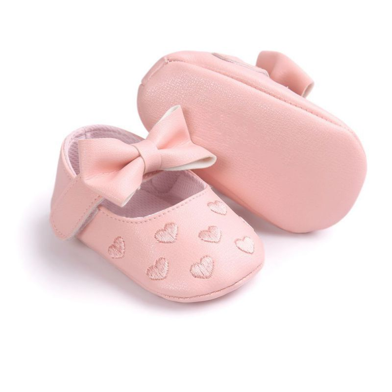 0-18M Toddler Girl Crib Shoes Newborn Baby Bowknot Soft Sole Prewalker Sneakers