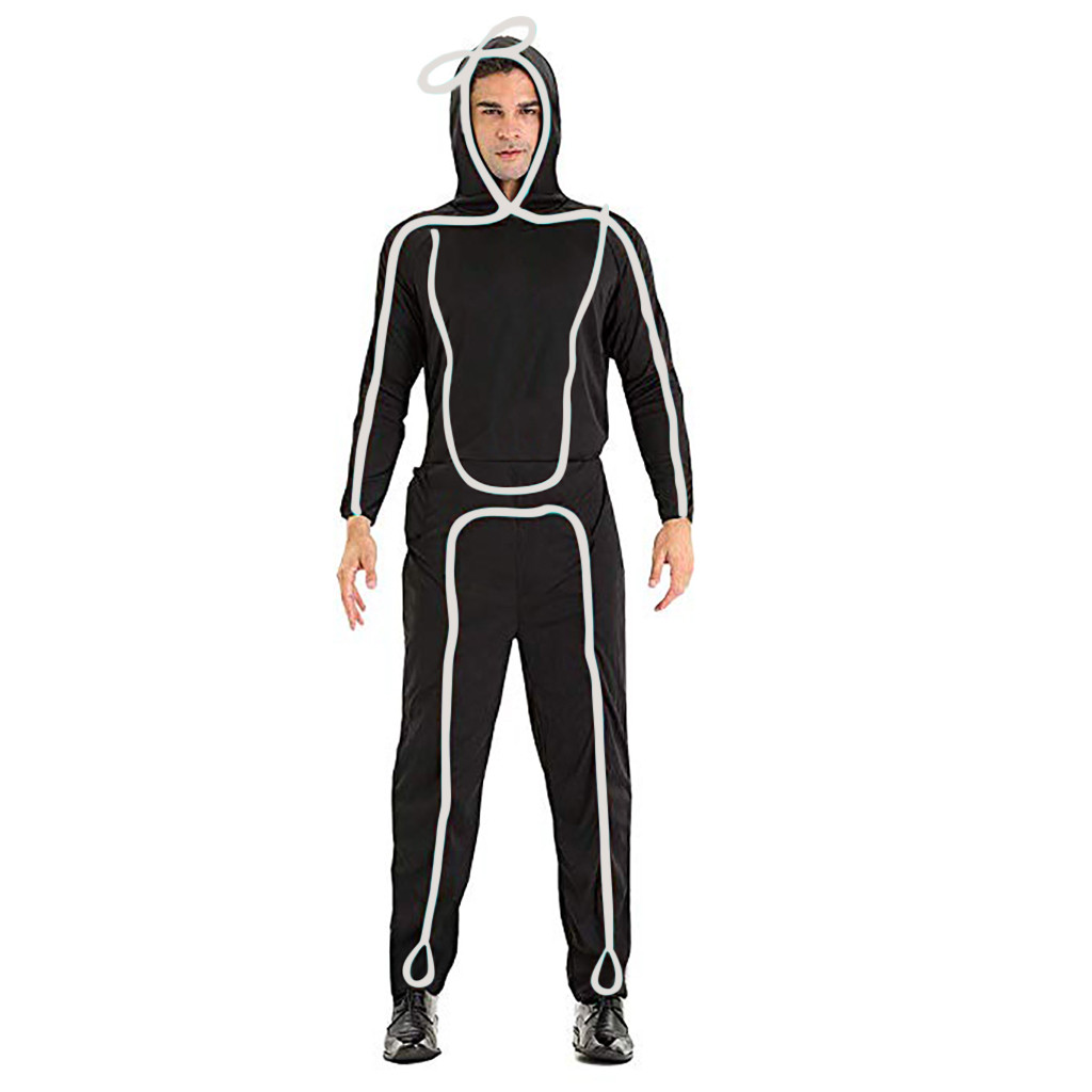 Light Adult Stick Figure Costume Stickman Light Dance Performance Clothing Costume Colorful Light Robot Dance Costumes Party