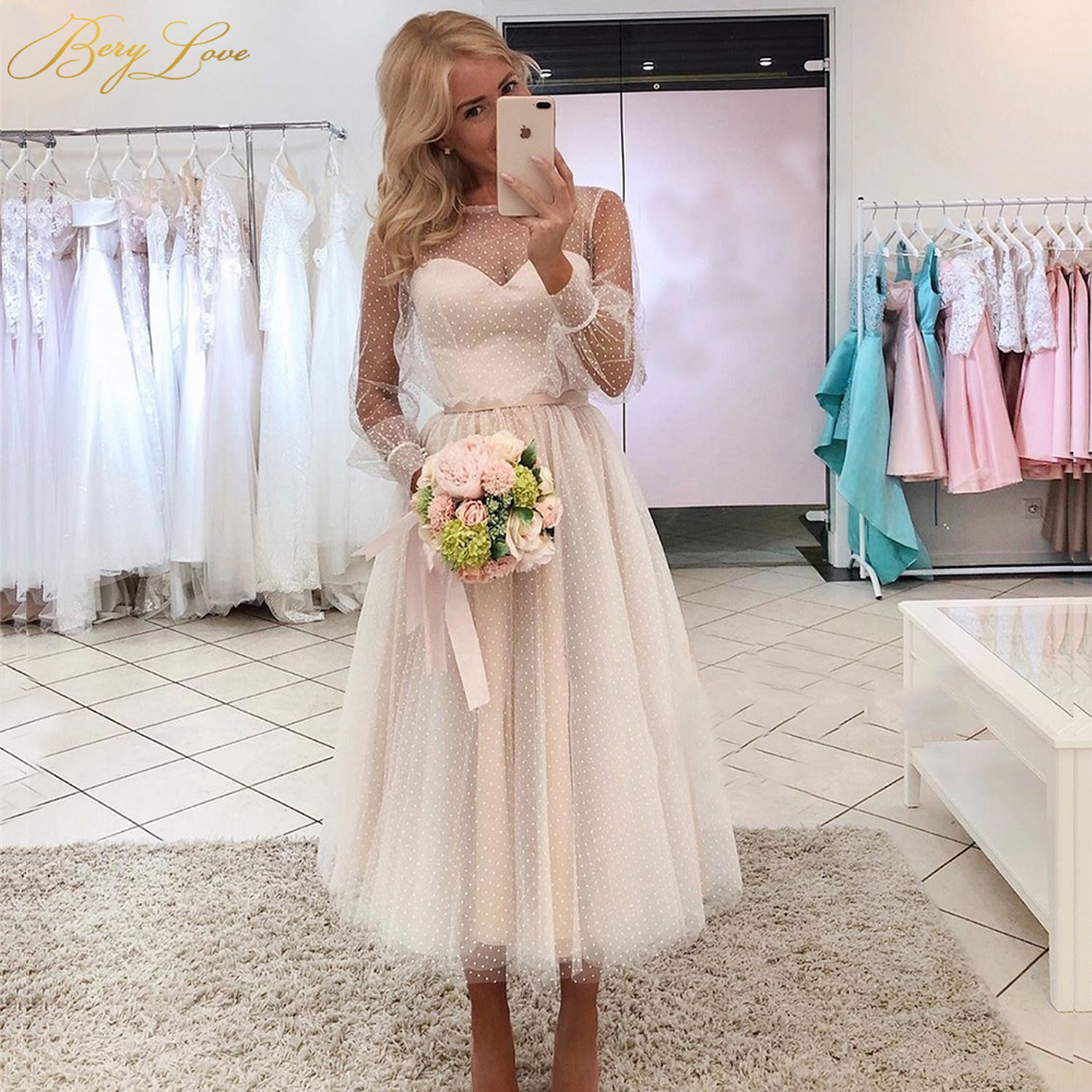 Ivory Prom Dress Dot Tulle A Line Elegant Party Dress Long Sleeves Short Gown Sweetheart Bead Belt Evening Dress Plus Size