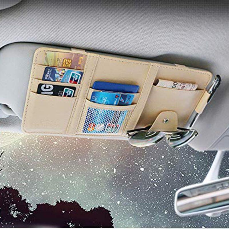 Universal carro auto visor organizador titular caso de couro do plutônio para óculos de cartão acessórios do carro sun visor organizador-estilo do carro