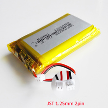 103450 3.7V 2000mAh lipo פולימר ליתיום נטענת סוללה + jst 1.25mm 2pin תקע עבור MP3 GPS navigator DVD