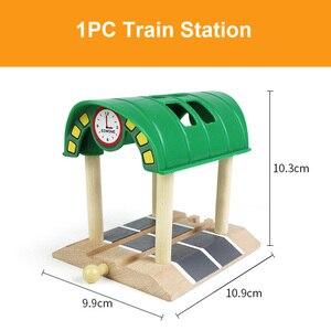 Image 5 - Vías de tren de madera de haya para niños, accesorios de túnel de puente de ferrocarril, piezas de tren de madera para Brio, juguetes educativos para niños, regalos