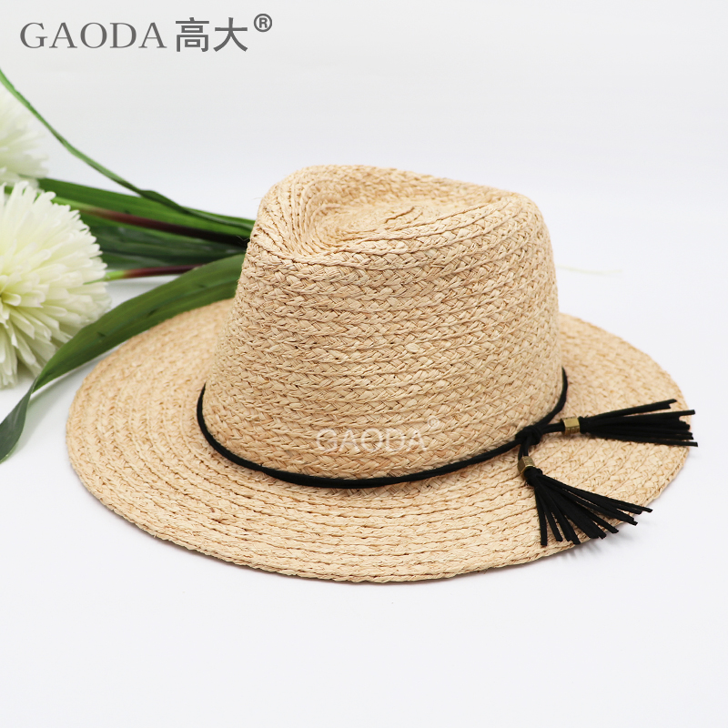 Straw Fedora Panama Hat Summer Beach UPF Sun Protection With Brim Fedora Beach Colorful Fishing