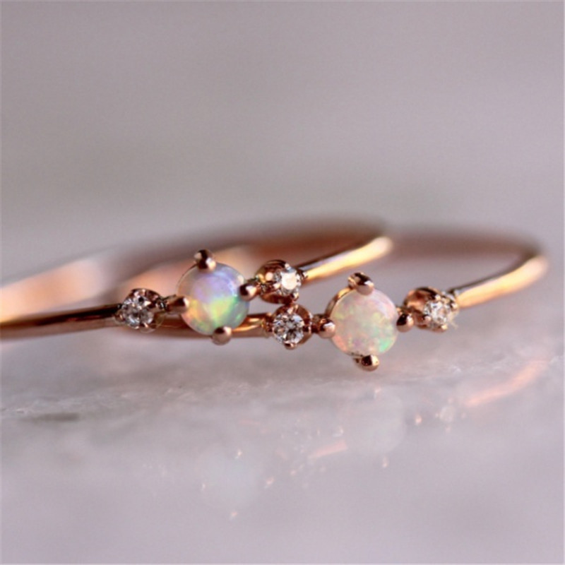 Exquisite Simple Crystal Lady Ring Rose Gold Opal Ring CZ Jewelry Wedding Ring