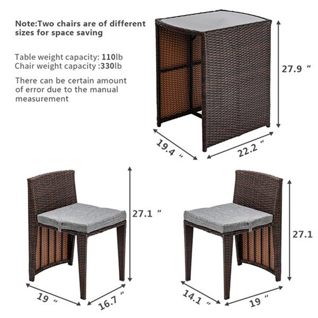3PCS Rattan Wicker Bistro Set w/ Glass Top Table 5