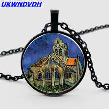 Van Gogh Orville Church Pendant Necklace Retro Men and Women Chain Jewelry