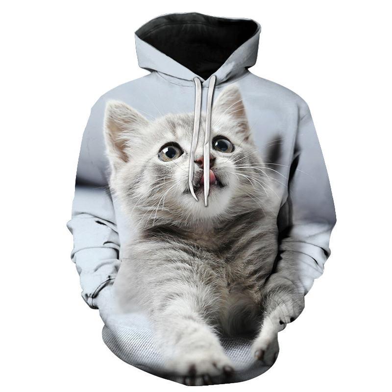 Cartoon Kawaii Hoodies 3D Printed Cat Oversize Mens Women's Sweatshirt Pullover Long Sleeve Hooded Sweatshirts Tops Sudaderas