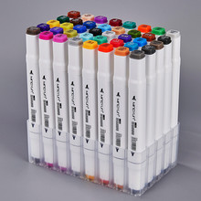 12/24/36/48/60 cores Dupla Tip Marcador Arte Desenho Pintura Aquarela Canetas Marcadores Caneta Material Escolar Escova 04379
